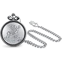 Elk Deer Hunter Reindeer White Dial Mens Pocket Watch Matt Silver Tone Plated Alloy with Chain