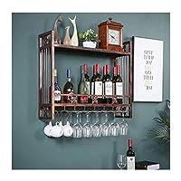 ヨーロッパのワインラック壁掛けクリエイティブワイングラスラック逆さまダブル錬鉄製ワインラック壁掛け(色:真鍮、サイズ:80 * 22 cm)