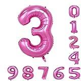 40インチの誕生日パーティバルーン(0-9)ピンクの数字アラビア数字3の装飾