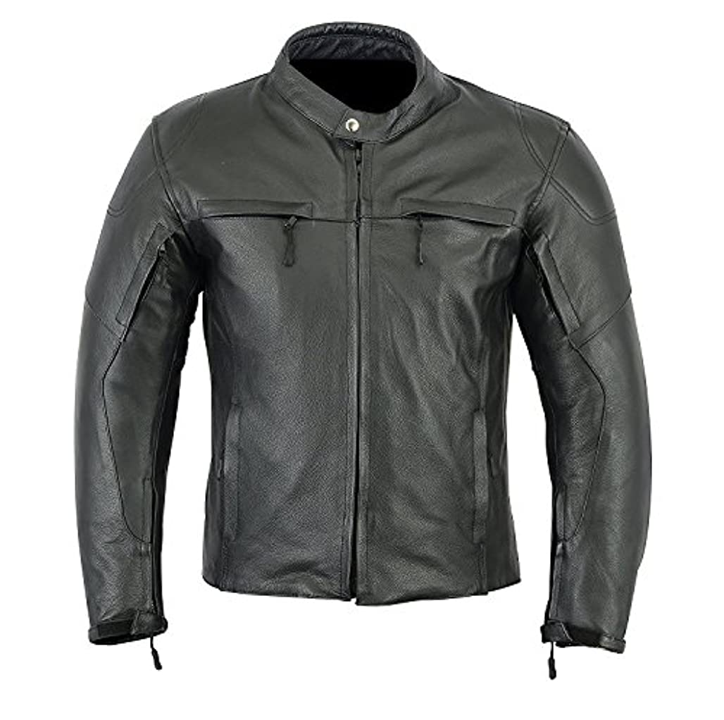 平均現像そのようなMOTORCYCLE BIKERS ARMOR POWER SPORTS LEATHER (FULL GRAIN) MENS JACKET BLACK LJ-1707. (S)