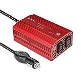 BESTEK カーインバーター 300W シガーソケット 車載充電器 USB 2ポート ACコンセント 2口 DC12VをAC100Vに変換 MRI3010BU-E04(バッテリー接続コードなし)