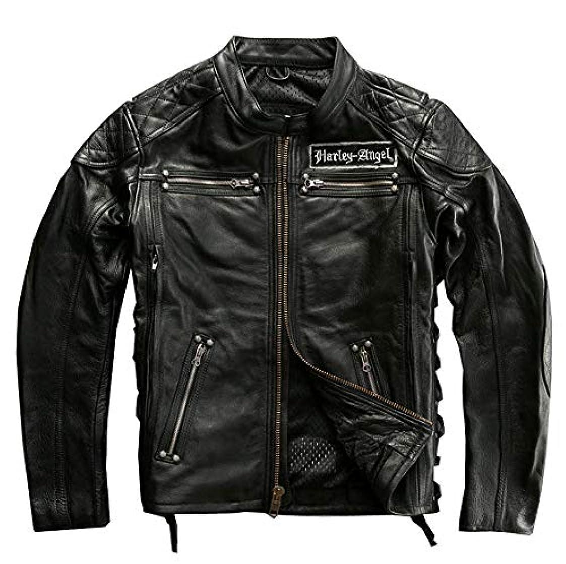叱る弱い主張バイクジャケット 牛革 男の本革ジャンバー レザー 革ジャン ライダース 刺繍 メンズ