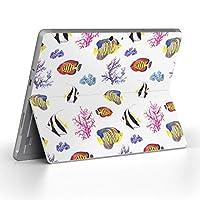 Surface go 専用スキンシール サーフェス go ノートブック ノートパソコン カバー ケース フィルム ステッカー アクセサリー 保護 海 魚 カラフル 010564