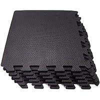 【Geum】 EVA ジョイントマット エクササイズ/トレーニング用 30x30x1.0cm 18枚セット 床保護 キズ防止 防音(サイドパーツ18辺付き) (ブラック)