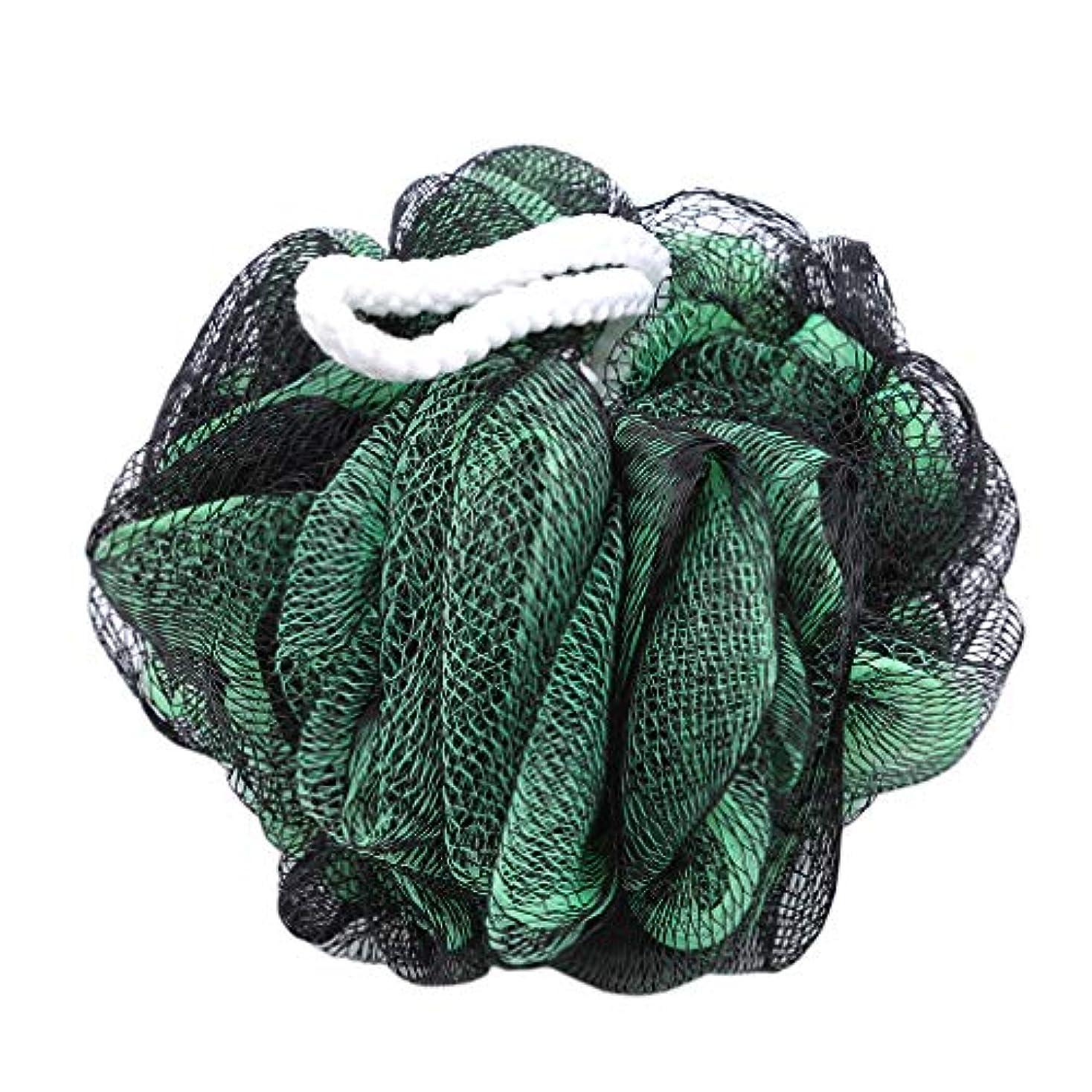 老朽化した正確避難火の色 ボディウォッシュボール ボディ用お風呂ボール 花形 泡立てネット 超柔軟 ベージュ ふわわん シャワー用 上品 黒緑