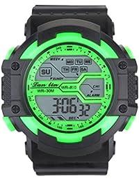 YAZILIND ユニセックススポーツ時計多機能 led ライトデジタル防水腕時計 (グリーン)