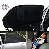 Hangli 2パック車のカーテン 赤ちゃんの子供のペットの夏の車の窓 太陽の色合い通気性メッシュカバー 車の後部座席のカーテン 屋外クロスカントリー アンチモスキート (M:113*50CM)