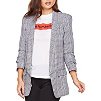 SheIn Women's Office Shawl Collar Ruched Sleeve Plaid Blazer Outerwear