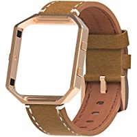 Henoda Compatible with Fitbit Blaze Bands Leather Small Large Strap Smart Fitness Watch Band Women Men