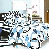 Blancho Bedding - [芸術的ブルー] 綿100% MEGA 掛け布団カバーセット(コンフォーター/デュべカバー)組み合わせ 7点セット クイーンサイズ(US)