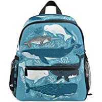 Mydaily Kids Backpack Whales Sea Coral Nursery Bags for Preschool Children