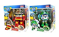 Robocar Poli Deluxe Transformer Toys Academy Robot Action Figures Korean Animation Kids Gift Set 2Pcs [Roi + Helli]