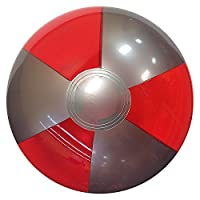 Beachballs - 16'' Translucent Red & Silver Beach Ball