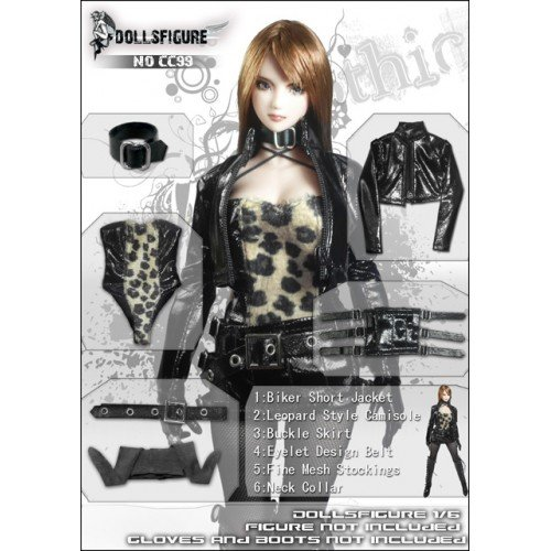 Dolls figure CC99 1 / 6 women for figure sexyhyuu patterned Camisole with biker closing set [DOLLSFIGURE CC99]