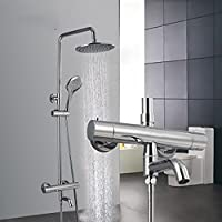 YYF-SHOWER ファッションアイデア 壁掛け式 クロムめっき ブラック 1.5mホース、 スプレーラウンドのトップ 滝 バス シャワーセット、 インテリジェントな一定温度 ハンドシャワー シングルハンドル ミキサー 温水と冷水、 ハイエンド ファミリーホテルヴィラ 蛇口 (色 : シルバー しるば゜)