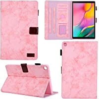 DodoBuy ケース ために Samsung Galaxy Tab A 10.1 2019 T510/T515, ジーンズ 手帳型 横開き カバー 革 マグネット式ド収納 スタンド機能 財布型 カード収納 おしゃれ フリップ オートスリープ/ウェイクアップ機能 - 淡いピンク