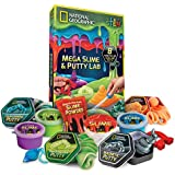 NATIONAL GEOGRAPHIC Mega Slime & Putty Lab - 4 Types of Amazing Slime + 4 Types of Stretchable Putty Including Magnetic Putty, Fluffy Slime and Glow-in-The-Dark Putty