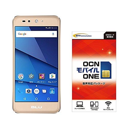 Amazon.co.jp 限定 BLU(ブルー)GRAND X LTE SIMフリースマートフォン ゴールド 専用ケース付 日本正規代理店品 G0010JJ/GOL-38  OCN モバイル ONE 音声通話+LTEデータ通信SIMセット