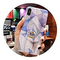 ヴィンテージ幾何大理石ケースiphone XS最大XR 6 6 s 7 8プラスX XSソフトIMDリングホルダー電話バックカバーCoqueギフト,d,For iPhone XR