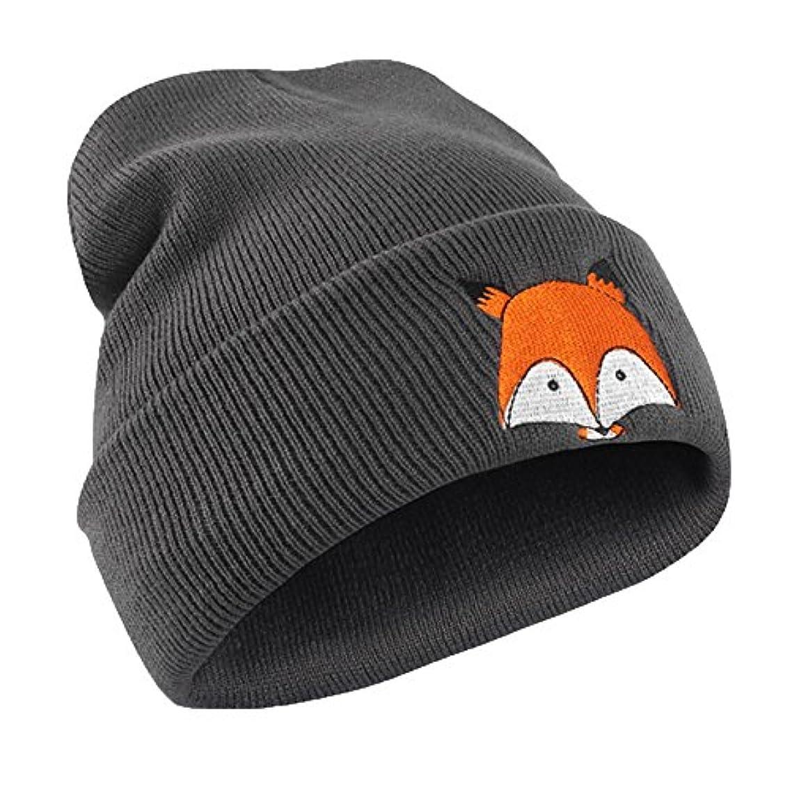 合計普遍的な腕Racazing ウールニット ニット帽 狐狸 刺繍 縮らす ニット帽 選べる6色 防寒対策 防風 暖かい 軽量 屋外 スキー 自転車 クリスマス ニット帽 Hat 淑女 (暗灰色)