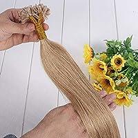 FidgetGear 1g / sケラチンネイルUチップフュージョンレミーヒューマンヘアエクステンション16-24インチサロンヘアー #27濃い金髪