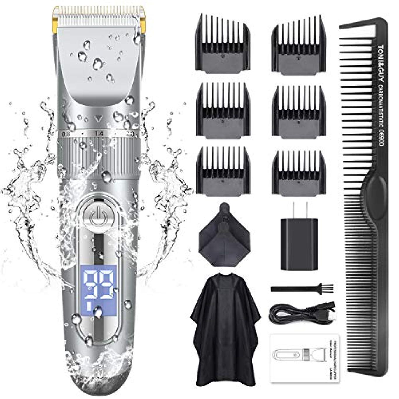 可塑性とまり木情熱的Adokey 電動バリカン IPX7防水 ヘアクリッパー usb充電式 バリカン?ヘアカッター 5段階刈り高さ 長時間使用 アタッチメント 散髪ケープ付 LED バリカン家庭用