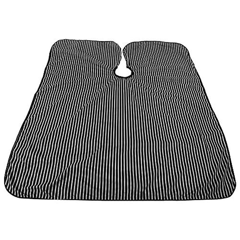 ビット精査アジア人プロフェッショナルサロンケープ、黒と白のストライプ帯電防止Styingケープ耐油サロンケープバーバー理髪ラップ