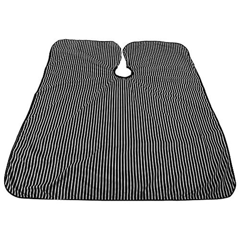 楽な偉業電報プロフェッショナルサロンケープ、黒と白のストライプ帯電防止Styingケープ耐油サロンケープバーバー理髪ラップ