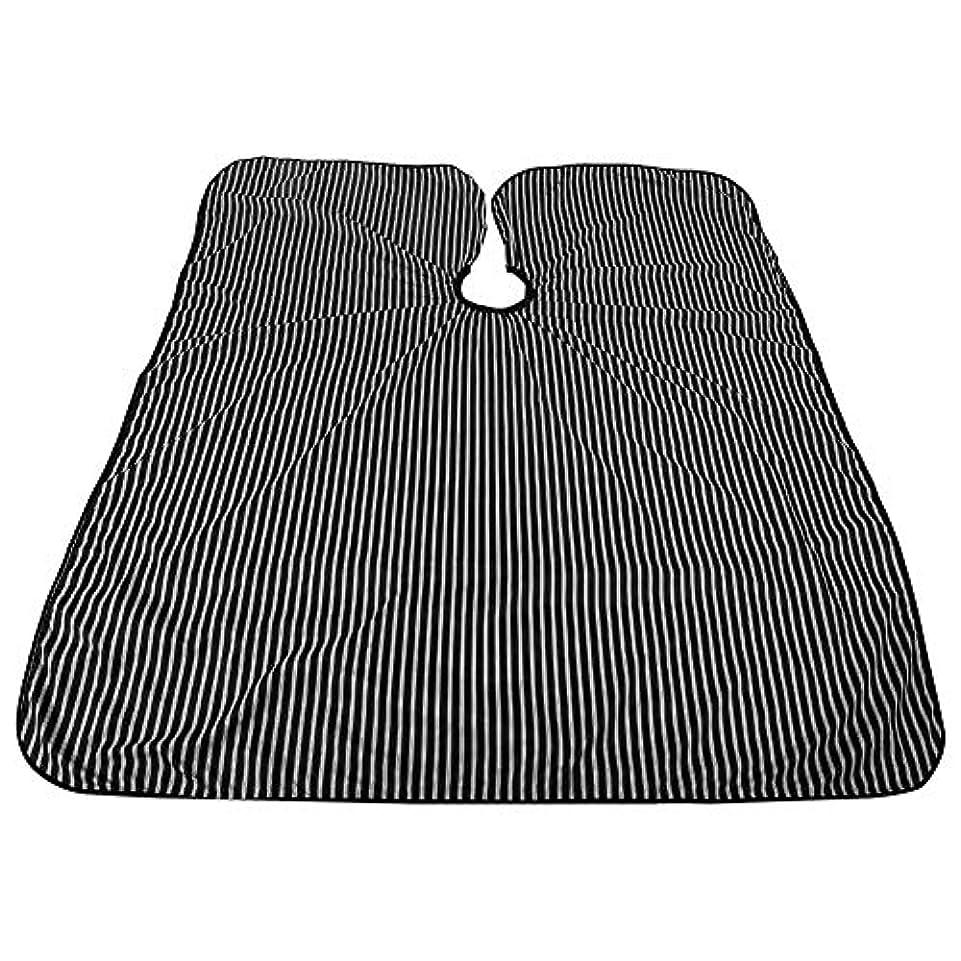 赤字自宅で楽しむプロフェッショナルサロンケープ、黒と白のストライプ帯電防止Styingケープ耐油サロンケープバーバー理髪ラップ