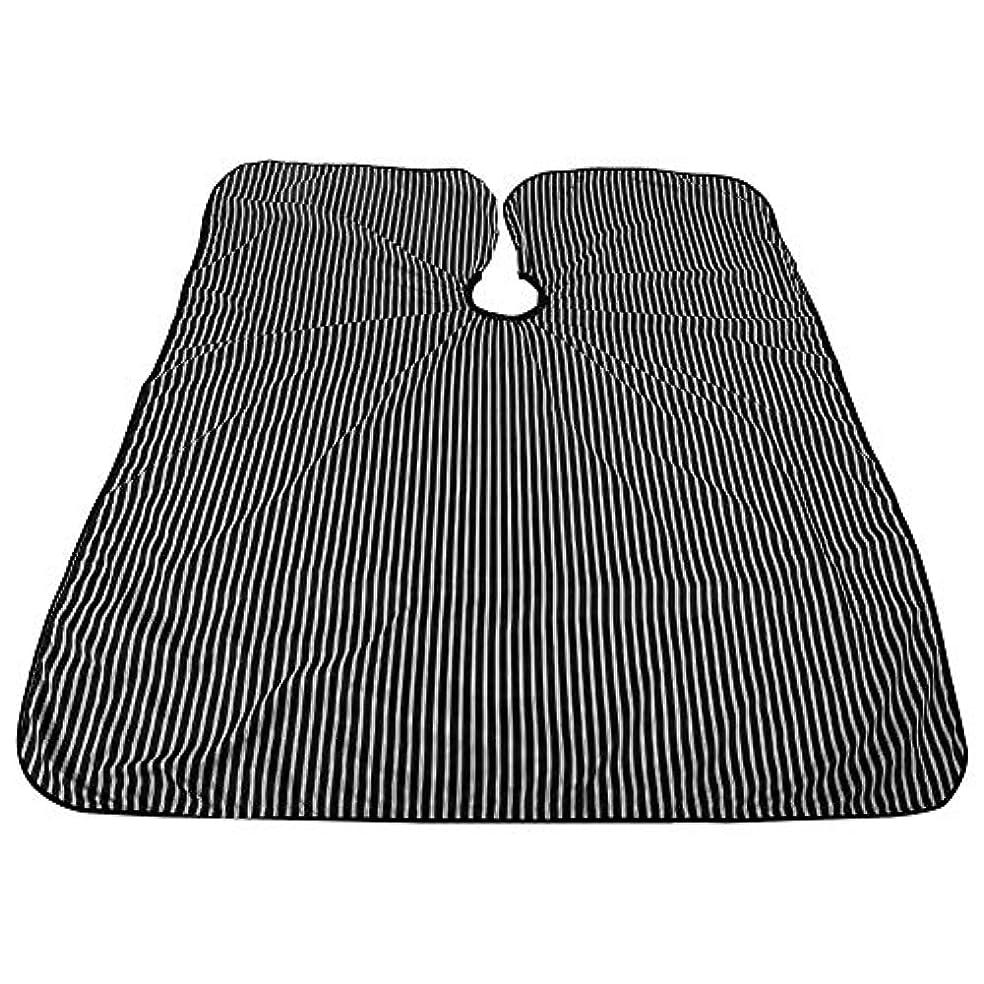 フリル同封する検出するプロフェッショナルサロンケープ、黒と白のストライプ帯電防止Styingケープ耐油サロンケープバーバー理髪ラップ