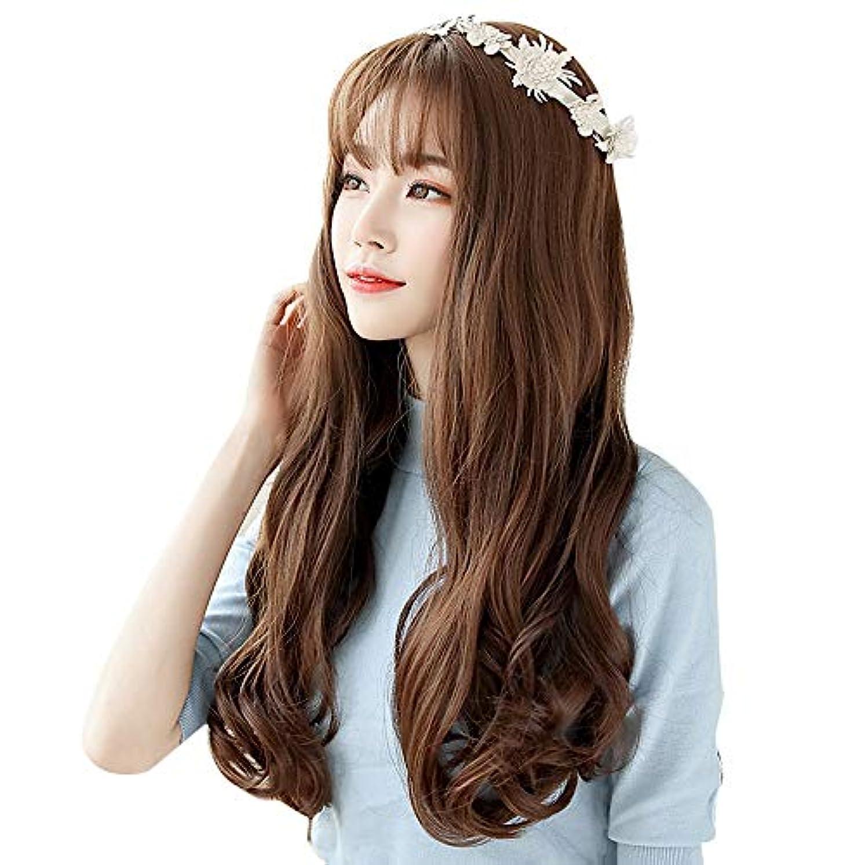 曲線自我またはどちらかSRY-Wigファッション かつら女性の長い髪の空気前髪自然なふわふわかわいい現実的な長い巻き毛ロールプレイング大きな波
