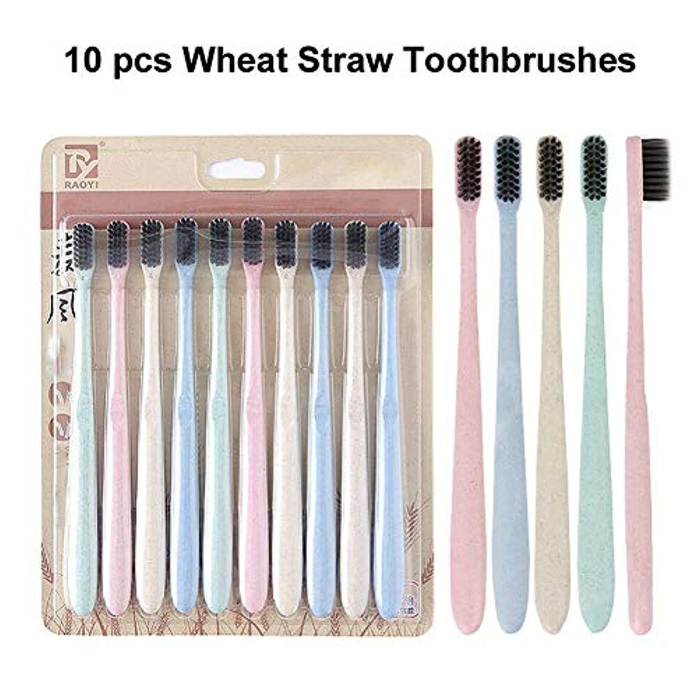 したいチャレンジ稼ぐ10本の自然小麦わらの歯ブラシの柔らかいタケ木炭ブラシの口頭クリーニング (多色)
