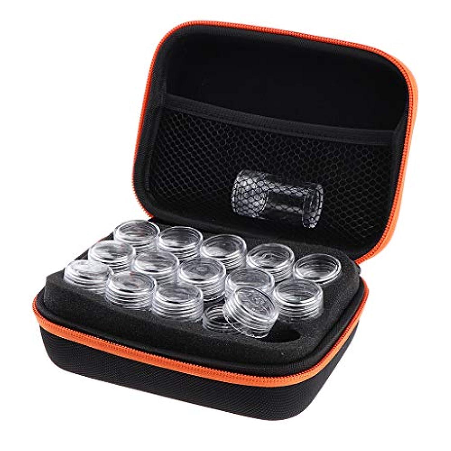 顕著挨拶落花生アロマポーチ 15本用 エッセンシャルオイル ケース 携帯用メイクポーチ 精油ケース 香水収納バッグ - オレンジ