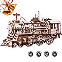 [ROBOTIME][ROBOTIME 3D Assembly Wooden Puzzle Laser-Cut Locomotive Kit Mechanical Gears Toy Brain Teaser Games Best Birthday Gifts for Engineer Husband & Boyfriend & Teen Boys & Adults](並行輸入品)
