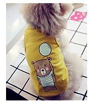 小さな猫犬の子犬XS S M L XL安価なクリアランス犬スーツテディプードルロンパースペットドレスコート猫ベストの服:イエロー、M