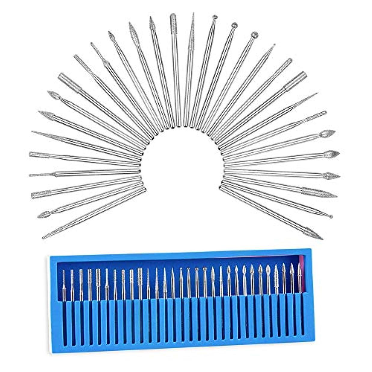 ネイルマシーン用 軸2.35mm 取り替えビットセット ミニルーター用 高品質 耐食 合金 各種類 30本入り 箱付 研磨 ネイルケア ネイルアート 角質処理 ツール ネイルマシーン 工具