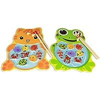 幼児期のゲーム パズル木製のかわいい動物の子育てインタラクティブフィッシング玩具(カエル釣り)