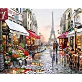 Kasting 5D Diamond Painting Kits for Adults Full Drill, DIY Cross Stitch Crystal Mosaic Picture Artwork for Home Wall Decor Gift City Couple Iron Tower Road 40X30cm