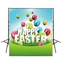 8x 8ft Happy Easterバックドロップ写真子供写真用ビニール背景写真背景写真背景