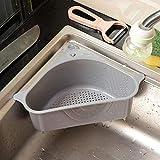Triangle Storage Holder Multifunctional Drain Shelf Storage Rack Kitchen Sucker,Corner Sink Strainer (Gray)