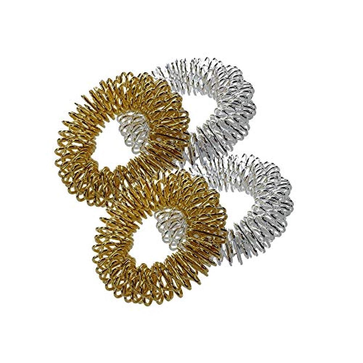 磁石悲しみ定数1st?market 指圧マッサージリング - 4本薬指圧マッサージリングシルバー+ゴールデン高品質