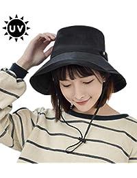 UVカット 帽子 T WILKER レディース uv帽 小顔効果 熱中症予防 日よけ ハット 取り外すあご紐 スナップ収納 折りたたみ つば広 調節テープ 吸汗通気 紫外線対策 おしゃれ 高級感