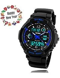 腕時計 キッズ TAKU STORE 子供用 ウォッチ 防水 男の子 アナログ アナデジ表示 ボーイズ 多機能 アラーム付き 誕生日プレゼント 日本語説明書付き ブルー