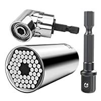 ユニバーサルソケット、7mm-19mm多機能コードレスラチェットアダプターソケットレンチセット、インパクトグレードドライバーソケットアダプターエクステンションセット、ドライバーセット六角ビット+(ギフト)105度ライトアングルドリル