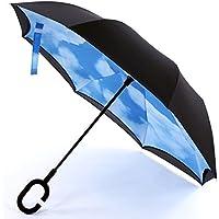 ZooooM さかさま 逆さ 逆 折り 傘 雨具 アンブレラ 軽量 デザイン おしゃれ 濡れない 折れない 男 女 兼 用 2重 構造 丈夫 安全 長持ち ( スカイ ) ZM-UMB2-1713-SKY