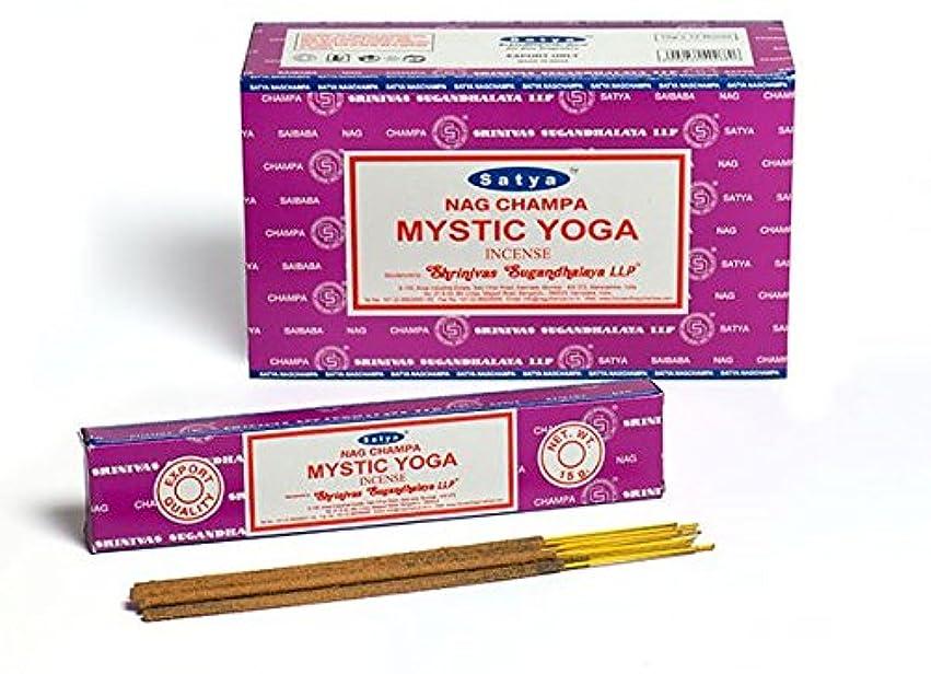 後ろにアンプ夕方Satya Nag Champa Mystic Yoga お香スティック Agarbatti 180グラムボックス   15グラム入り12パック 箱入り   輸出品質
