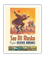アラスカを見る - アラスカ航空 - コッツェーヴェエスキモーのダンス - ビンテージな航空会社のポスター によって作成された ジェス C. c.1960s - アートポスター - 28cm x 36cm