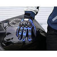 Masei & Luusamaグローブ ブラック 黒 (Black) M L XL XXLサイズ - オートバイ用 バイク手袋 メッシュタイプ 高級炭素繊維 軽量 頑丈 変形しにくい おしゃれ (あお(青), Medium)