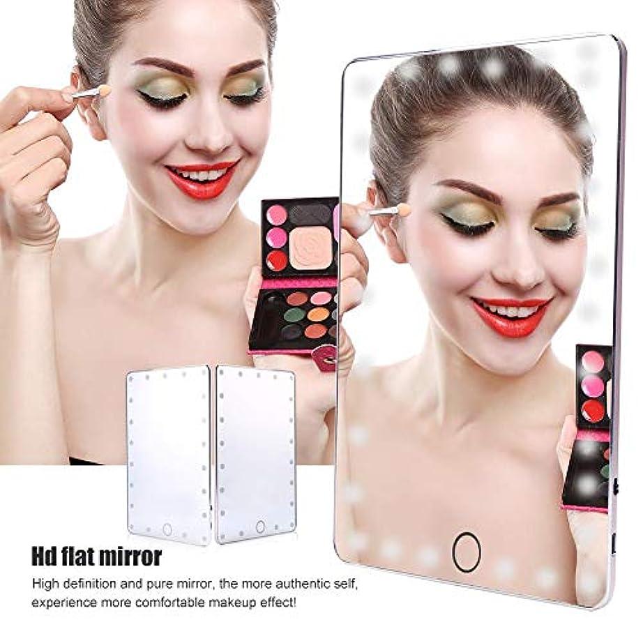 増加する爪高度USBデスクトップ化粧鏡、21 LEDタッチスクリーン化粧ランプミラー+明るさのインテリジェントチップ制御付きミラーカバー、旅行化粧品ライトアップミラー(シルバー)