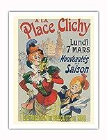 プレイスクリシーで - パリ、フランス - ニースの花束 - ビンテージな広告ポスター によって作成された レネ・ピエン c.1890s - アートポスター - 51cm x 66cm